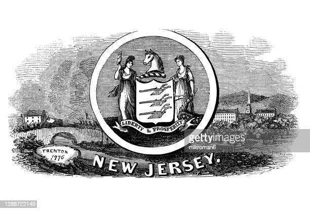 old engraved illustration of seal of new jersey us state, united states of america (usa) - new jersey stock pictures, royalty-free photos & images