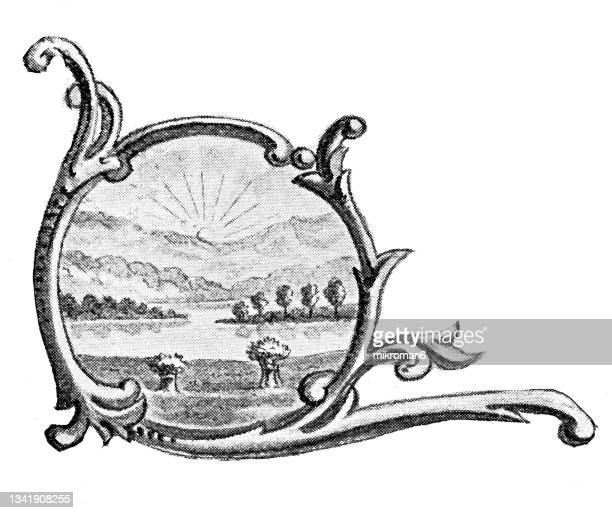 old engraved illustration of seal of ohio us state, united states of america (usa) - columbus ohio stock pictures, royalty-free photos & images
