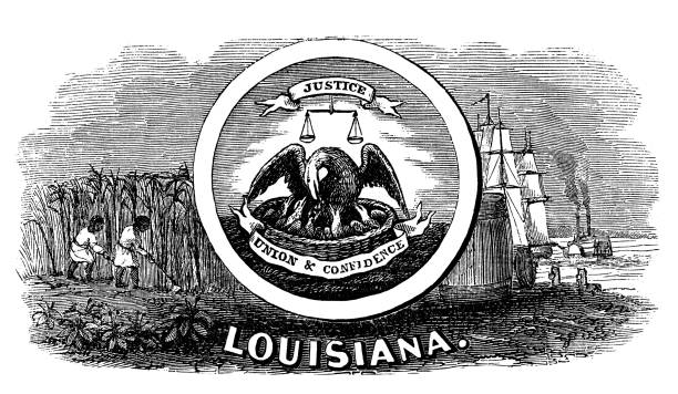 Old engraved illustration of seal of  US State, United States of America (USA)