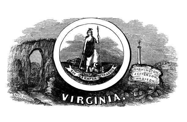 Old engraved illustration of seal of Virginia US State, United States of America (USA)
