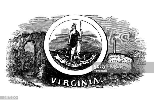 old engraved illustration of seal of virginia us state, united states of america (usa) - virginia us state stock pictures, royalty-free photos & images