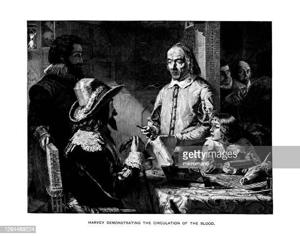 old engraved illustration of sir william harvey demonstrating to charles i the circulation of the blood from the heart of a deer - cardiovascular system stock pictures, royalty-free photos & images
