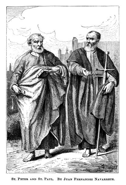 Old engraved illustration of St. Peter and St. Paul by Juan Fernández Navarrete