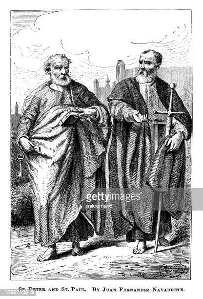 old engraved illustration of st. peter and st. paul by juan fernández navarrete - the royal photographic society stock pictures, royalty-free photos & images