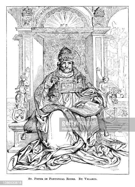 old engraved illustration of st. peter pontifical robes by velasco - the royal photographic society stock pictures, royalty-free photos & images