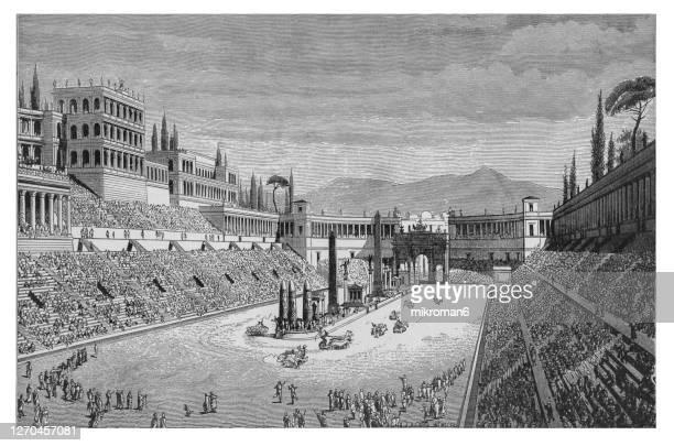 old engraved illustration of stadium circus maximus in ancient rome - 第一競技場 ストックフォトと画像