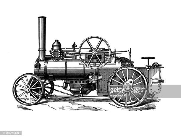 old engraved illustration of steam plow tractor - 農業機械 ストックフォトと画像