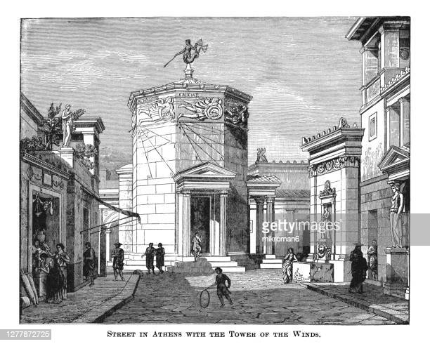 old engraved illustration of street in athens with the tower of the winds - forntida bildbanksfoton och bilder
