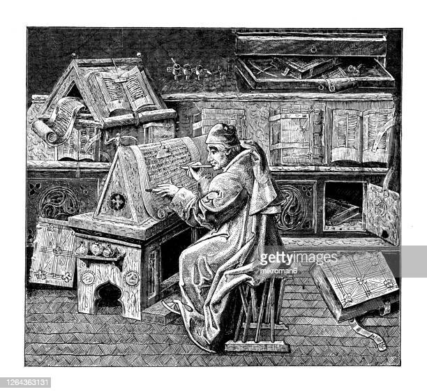 old engraved illustration of study of a scholar in the 15th century - literatur stock-fotos und bilder