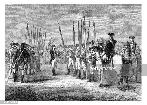 old engraved illustration of surrender of charles cornwallis to george washington at yorktown - governor stock pictures, royalty-free photos & images