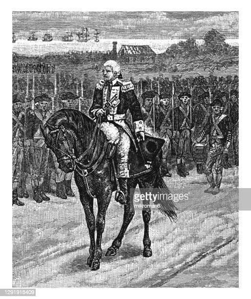 old engraved illustration of surrender of charles cornwallis to george washington at yorktown - united states presidential election stock pictures, royalty-free photos & images