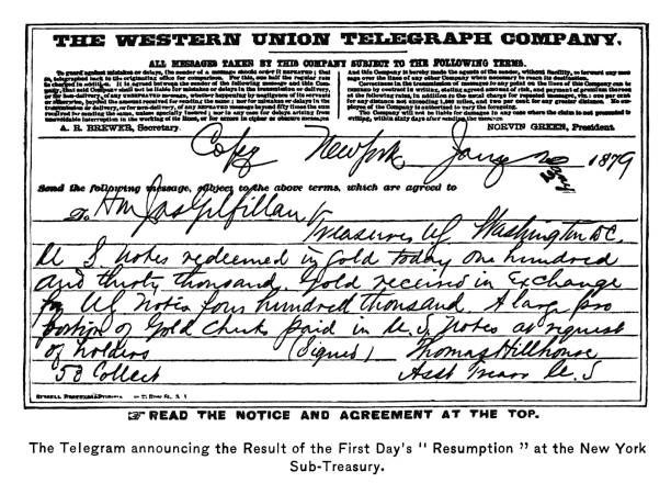 """Old engraved illustration of  telegram announced the result of the First Day's """"Resumption"""" at the New York Sub-Treasury in 1879"""
