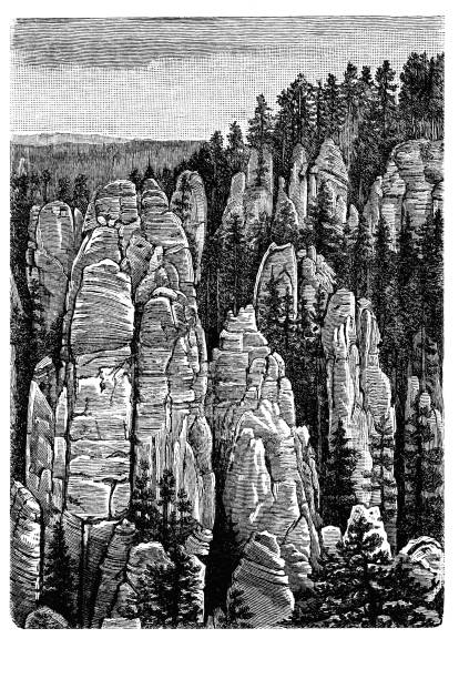 Old engraved illustration of The Adršpach-Teplice Rocks, Bohemia, Czech Republic