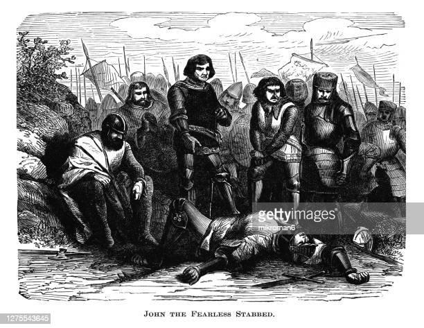 old engraved illustration of the assassination of john the fearless, duke of burgundy,on the bridge at montereau on 10 september 1419 - duke stockfoto's en -beelden