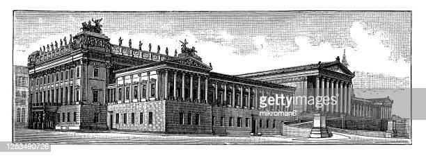 old engraved illustration of the austrian parliament building - central berlin stock pictures, royalty-free photos & images