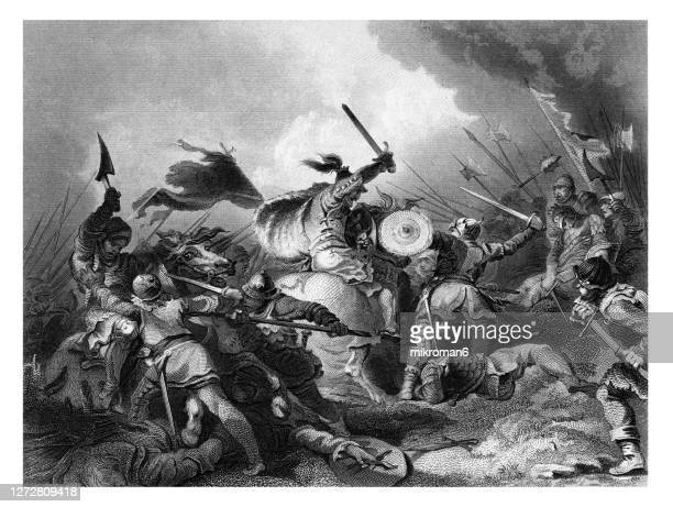 old engraved illustration of the battle of hastings - ancient greece stock pictures, royalty-free photos & images