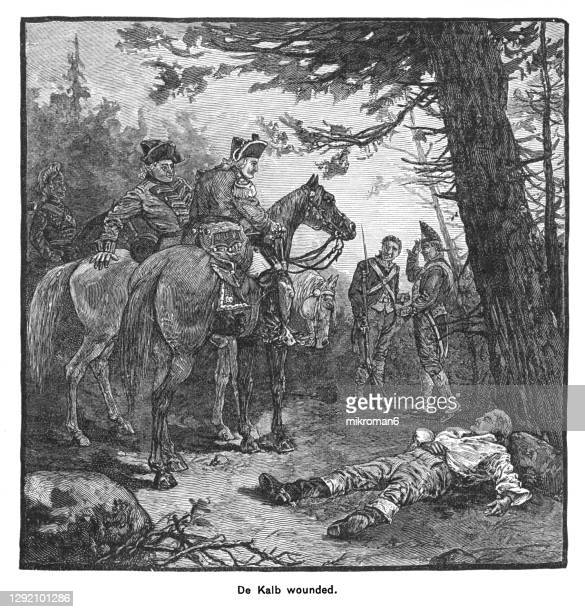 old engraved illustration of the battle of of camden, south carolina, general de kalb is mortally wounded - united states presidential election stock pictures, royalty-free photos & images