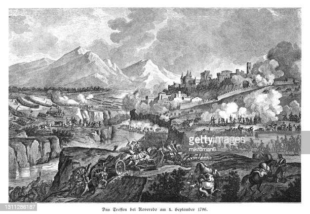 old engraved illustration of the battle of rovereto (4 september 1796) - the royal photographic society stock pictures, royalty-free photos & images