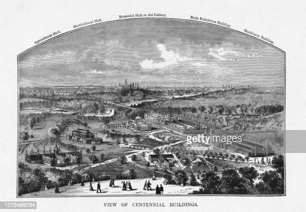 old engraved illustration of the centennial buildings from the philadelphia, usa world's fair of 1876 - 100th anniversary stock pictures, royalty-free photos & images