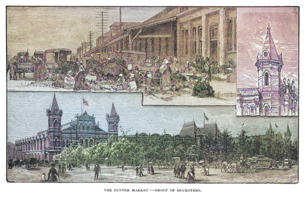 Old engraved illustration of the Center Market - group of Hucksters