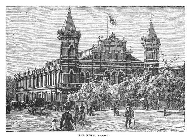 Old engraved illustration of the Center Market, Washington DC., United States
