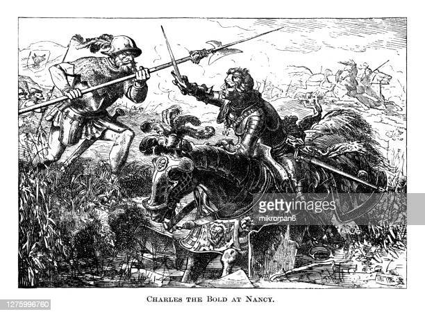 old engraved illustration of the death of charles the bold in battle at nancy, 1477. charles the bold, baptized charles martin, 1433 – 1477. duke of burgundy. - duke stock pictures, royalty-free photos & images