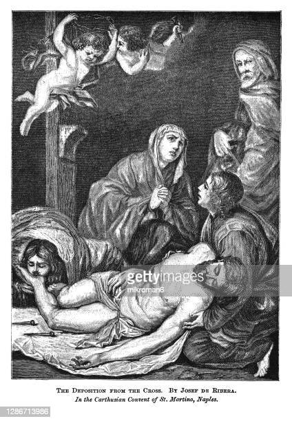 old engraved illustration of the deposition from the cross by josef de ribera - good friday stock pictures, royalty-free photos & images