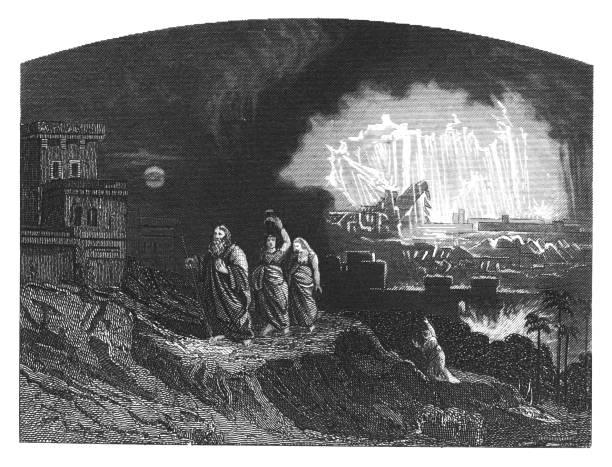 Old engraved illustration of the destruction of Sodom and Gomorrah