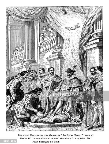 old engraved illustration of the first chapter of the order of le saint esprit held by henry iv in the church of the augustins by jean françois de troy - the royal photographic society stock pictures, royalty-free photos & images