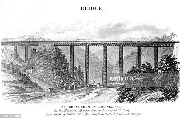 old engraved illustration of the great crumlin iron viaduct, popular encyclopedia published 1894 - crumlin viaduct stock pictures, royalty-free photos & images