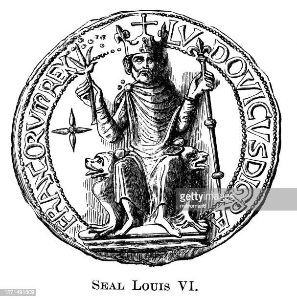 old engraved illustration of the great seal louis vi - king royal person stock pictures, royalty-free photos & images