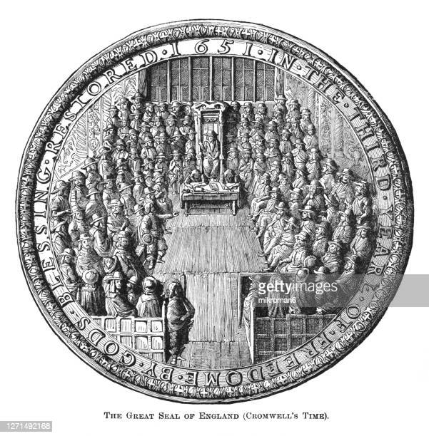 old engraved illustration of the great seal of england (cromwell's time) - king royal person stock pictures, royalty-free photos & images