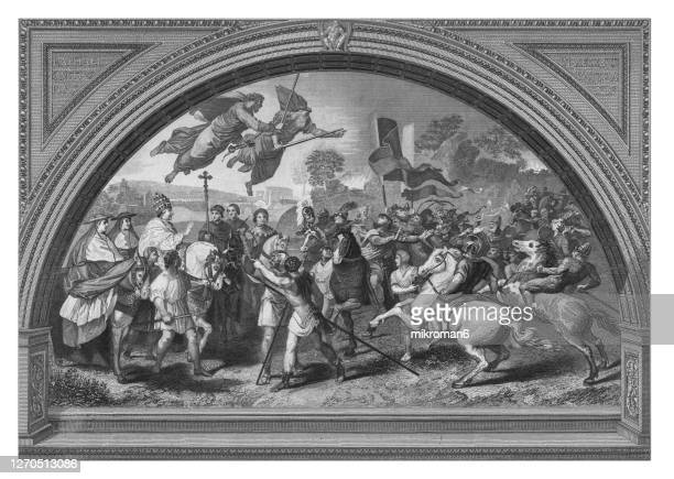 old engraved illustration of the meeting of leo i and attila - (fresco italian renaissance artist raphael) - pope stock pictures, royalty-free photos & images