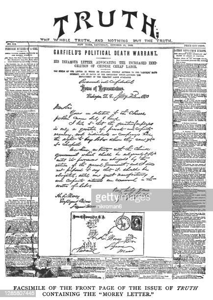 old engraved illustration of the morey letter - paper stock pictures, royalty-free photos & images