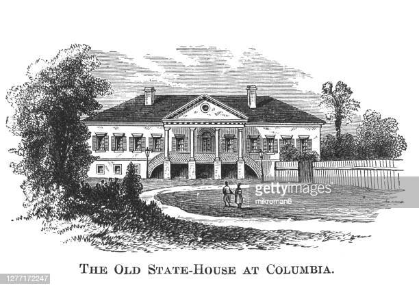 old engraved illustration of the old state house in columbia, so. carolina - 100th anniversary stock pictures, royalty-free photos & images