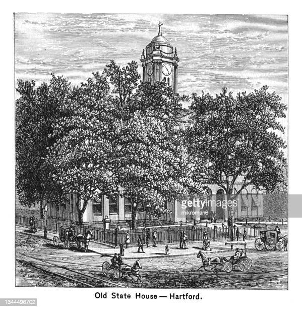 old engraved illustration of the old state house in hartford, connecticut - 100th anniversary stock pictures, royalty-free photos & images