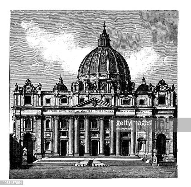 old engraved illustration of the papal basilica of saint peter in the vatican, saint peter's basilica - pope stock pictures, royalty-free photos & images