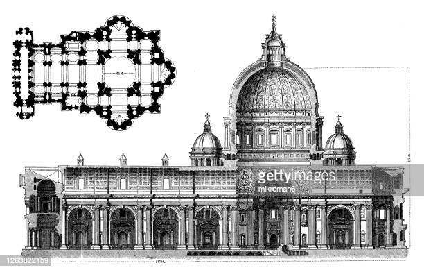 old engraved illustration of the papal basilica of saint peter, vatican, saint peter's basilica - pope stock pictures, royalty-free photos & images