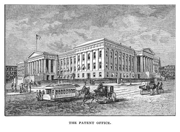 Old engraved illustration of The Patent Office building, Washington DC., United States