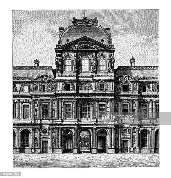 old engraved illustration of the pavillon de l'horloge, the pavillon sully, the louvre museum, paris, france - ルーヴル美術館 ストックフォトと画像