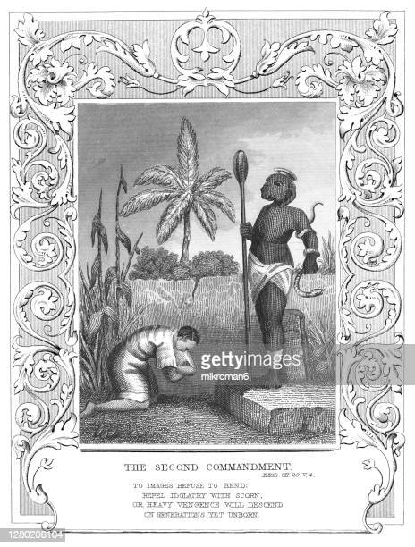 old engraved illustration of the second commandment - catholicism stock pictures, royalty-free photos & images