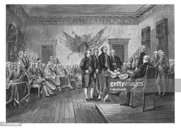 old engraved illustration of the signing of the united states declaration of independence occurred primarily on august 2, 1776 at the pennsylvania state house, independence hall in philadelphia, pennsylvania. - american civil war stock pictures, royalty-free photos & images