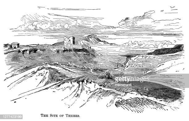 old engraved illustration of the site of thebes, greece - landscape scenery stock pictures, royalty-free photos & images