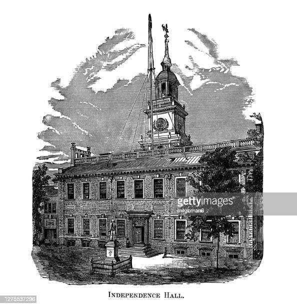 old engraved illustration of the state house in philadelphia 1776 exterior view of independence hall in philadelphia, pennsylvania, as it looked in 1776 - 100th anniversary stock pictures, royalty-free photos & images