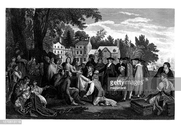 old engraved illustration of the treaty of william penn with the indians, (penn's treaty with the indians at shackamaxon) - quaker stock pictures, royalty-free photos & images