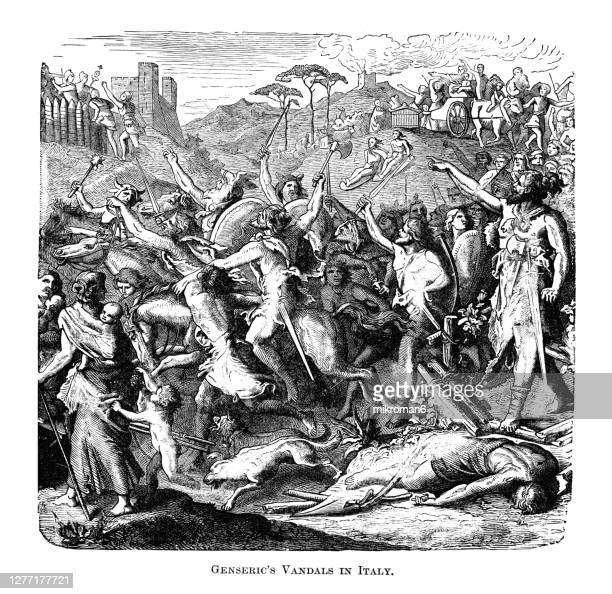 old engraved illustration of  the vandals under leadership gaiseric (king of the vandals) attacking rome (italy) in 455 ad - rome italy stock pictures, royalty-free photos & images