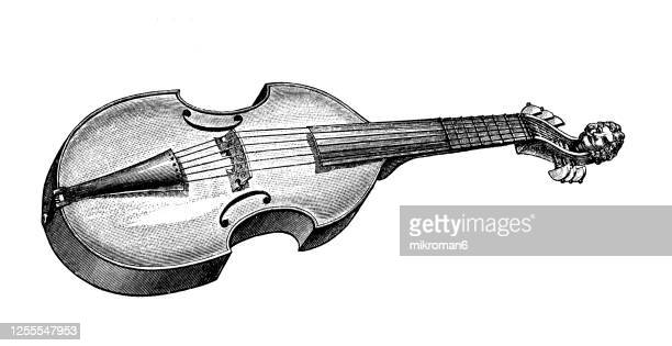 old engraved illustration of the viola, musical instrument - music stock pictures, royalty-free photos & images