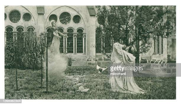 old engraved illustration of the vision of st. bernard - pure bred dog stock pictures, royalty-free photos & images
