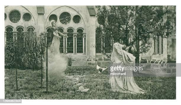 old engraved illustration of the vision of st. bernard - cisterciense - fotografias e filmes do acervo