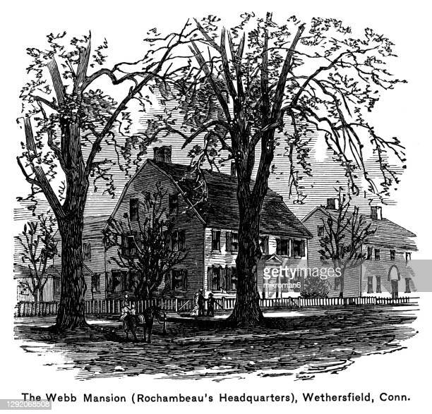 old engraved illustration of the webb mansion (rochambeau's headquarters), wethersfield, connecticut - united states presidential election stock pictures, royalty-free photos & images